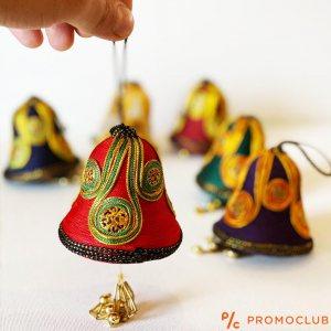Шест луксозни КОЛЕДНИ камбани текстилни апликации в ориенталски стил, КЛАСА и СТИЛ