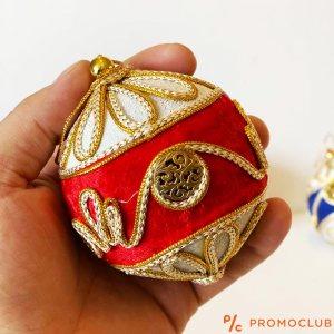 Четири луксозни КОЛЕДНИ топки, текстилни апликации в ориенталски стил, КЛАСА и СТИЛ