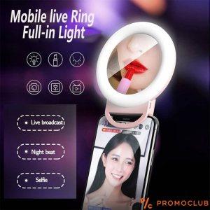 Голямо мобилно LED огледало за селфи, три цвята, вградена батерия, USB зареждане