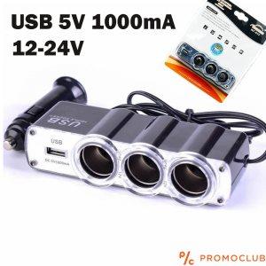 Троен разклонител за авто запалка с USB WF 015, 12-24V, 60W, 5.4A/1000mA