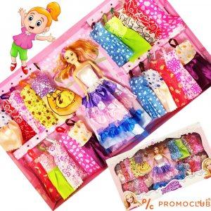 Огромен сет кукла с 20 рокли за преобличане и бижута