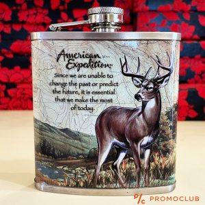 Красиво изрисувана манерка за алкохол AMERICAN EXPEDITION, неръждаема стомана, 207 мл