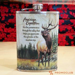 Красиво изрисувана манерка за алкохол AMERICAN EXPEDITION, неръждаема стомана, 266 мл