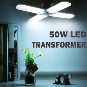 Мощна EKO LED лампа Е27 сгъваема с 4 светещи крила 50W, студена бяла светлина, 6500К