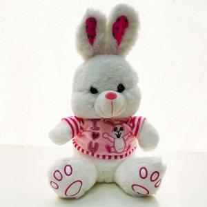 Бяло плюшено зайче I LOVE YOU BUNNY, с розов елек, височина 28 см