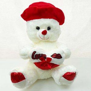 Голям бял плюшен мечок с бяло съце LOVE, висок 50 см, 4234