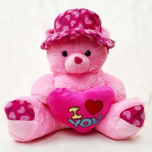 Гигантски розов плюшен мечок I LOVE YOU PINK BEAR, висок 65 см
