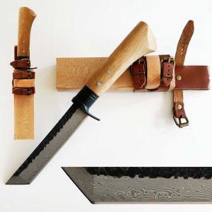 Ръчно кован танто нож в традиционен японски стил,  DAMASK 440C, кания дърво и кожа