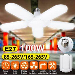 Мощна EKO LED лампа Е27 малка сгъваема с 5 светещи крила 100W студена бяла светлина, 6500К