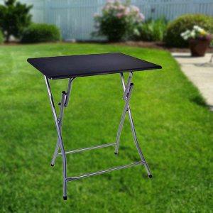 Сгъваема маса с черен дървен плот - за градината и верандата, 48 х 38 см