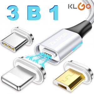 3 в 1 магнитен кабел KLGO за зареждане с 3 различни накрайника за iPhone, Android и Type C