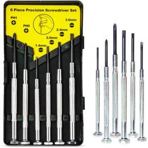 Комплект МИНИ отвертки 6 броя в различни размери и кутийка, 4 бр минусови и 2 бр кръстати