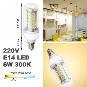 LED крушка E14 миньонка 6W, 3000K топла светлина, ~220V, компактна