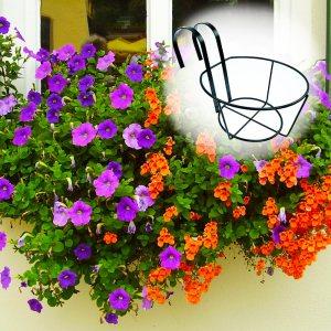 Удобна кръгла поставка от метал за растенията на балкона, закачаща се, 20 х 11 см