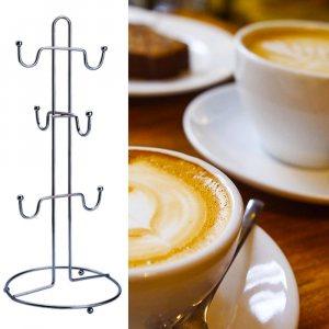 Практична поставка за чаши, метал - 6 закачалки за чаши с дръжки, 34.5 см
