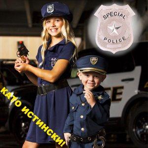 Карнавална полицейска значка за завършен костюм и вид - метална