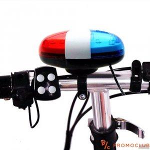 Полицейска сирена за велосипед: светлини и четири мощни сигнала