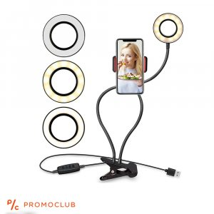 Настолна LED лампа с гъвкаво рамо и стойка за телефон, закрепване с щипкаа