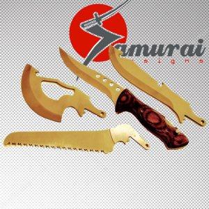 Азиатски X-4 BLADE комплект за оцеляване- нож/брадва/мачете/трион с орехова дръжка и кобур