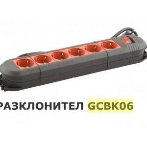 Висококачествен черен разклонител с 6 червени гнезда и прекъсвач 3.5KW 16A GCBK06