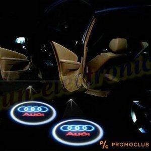 Безжично LED светещо лого AUDI за под вратите - без пробиване и кабели, монтаж за 5 мин.