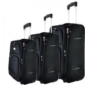 Висок клас разширяващи се текстилни куфари Perfect Line BLACK 1029-2, 3 бр.