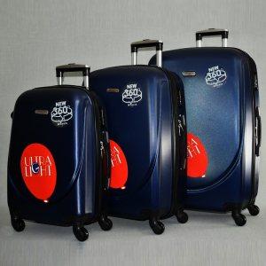 3 луксозни пътнически куфари 1217 BLUE от най-висок клас, с разширение