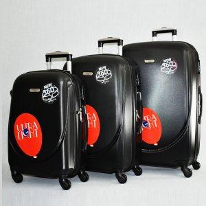 3 луксозни пътнически куфари 1217 BLACK от най-висок клас, с разширение