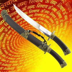 Китайска къса Сабя в подаръчна кутия и твърда декорирана кания HK2305, меч