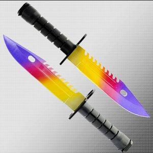 Геймърски нож COUNTER STRIKE CS M9 BAYONET ELITE MARBLE FADE M5 с ПОДАРЪК - стойка