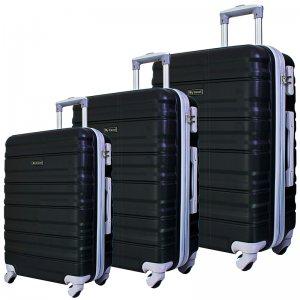 Комплект 3 броя ABS куфари BUSINESS MTRAVEL 1601 BLACK, скрит механизъм и РАЗШИРЕНИЕ