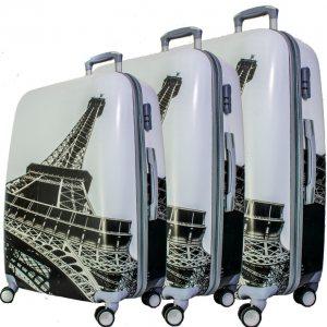 Комплект 3 бр. ПОЛИКАРБОН леки и твърди куфари BUSINESS 908 PARIS BLACK, скрит механизъм