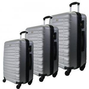 Комплект 3 броя ABS авио куфари-спинъри TRANSIT 837 SILVER,  скрит механизъм, РАЗШИРЕНИЕ