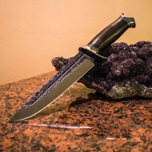 Голям ловен нож Persian R6 с дървена дръжка тъмен орех и твърда синтетична ABS кания