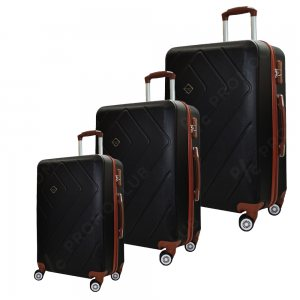 ЛИКВИДАЦИЯ: комплект 3 ABS куфари RUMBA BLACK 8042, ABS, леки и твърди, безшумни колела
