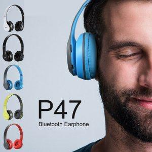 HiFi безжични слушалки P47 Wireless, FM radio, MP3,  Micro SD card, Bluetooth 4.2, дждж