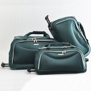ТОП комплект 3 пътни чанти FERRAZZI с колелца и дръжка за теглене 1188 GREEN