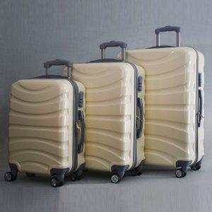 BF SALE : 3  поликарбонови куфари - спинъри WAVE 8009 WHITE, леки, твърди и удобни