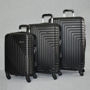 Комплект твърди и леки бизнес клас куфари - спинъри с всички екстри  QUADARAL 8071 BLACK