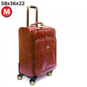 Kожен куфар PILOT HANDLE PH01 M-BROWN, M размер 58x36x22