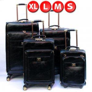 Великолепни кожени куфари DRN ALPHA BLACK, 4 броя спинъри