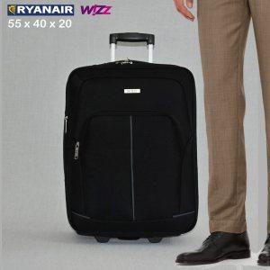 Разширяващ се куфар HQC 1710-1 BLACK за ръчен багаж, 55х40х20 см