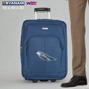 Разширяващ се куфар HQC 1710-1 LIGHT BLUE за ръчен багаж, 55х40х20 см