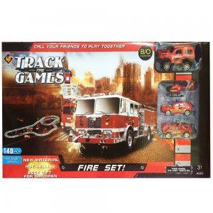 Голяма писта с електрическа пожарна кола FIRE TRACKS GAMES, + 3 други колички, 3+