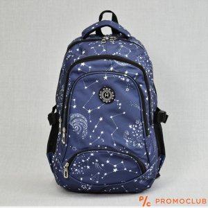 Голяма ученическа раница HQC FF3128 BLUE STARS, вис. 45 см