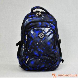Голяма ученическа раница HQC FF3128 BLACK BLUE QUADRATS, вис. 45 см