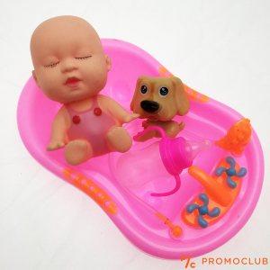 Малък комплект бебе за къпане във вана, с душ и аксесоари