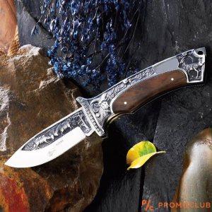 Премиум классгъваем ловен нож с козирог Columbia A3191, кания от естествен телешки бланк