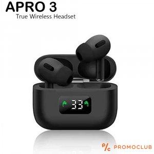 Нов модел безжични слушалки  APRO 3 BLACK, TRUE WIRELESS HEADSET