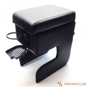 Универсален подлакътник - барче за всеки автомобил, черна кожа, с две поставки за чаши